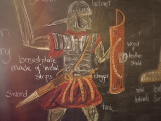 Chalk Drawing: Roman Soldier