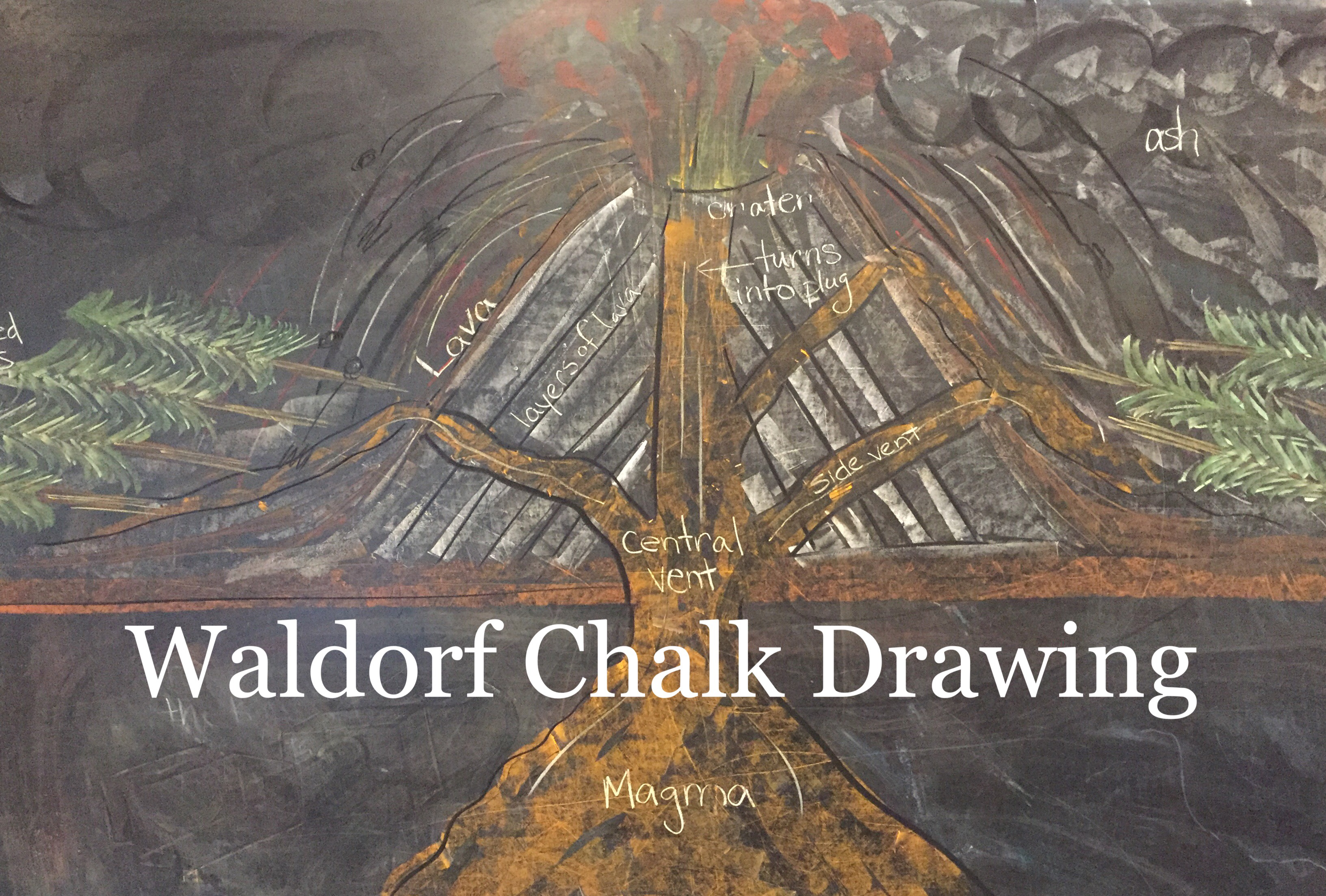 Volcano | Chalk Drawing | Geology Unit